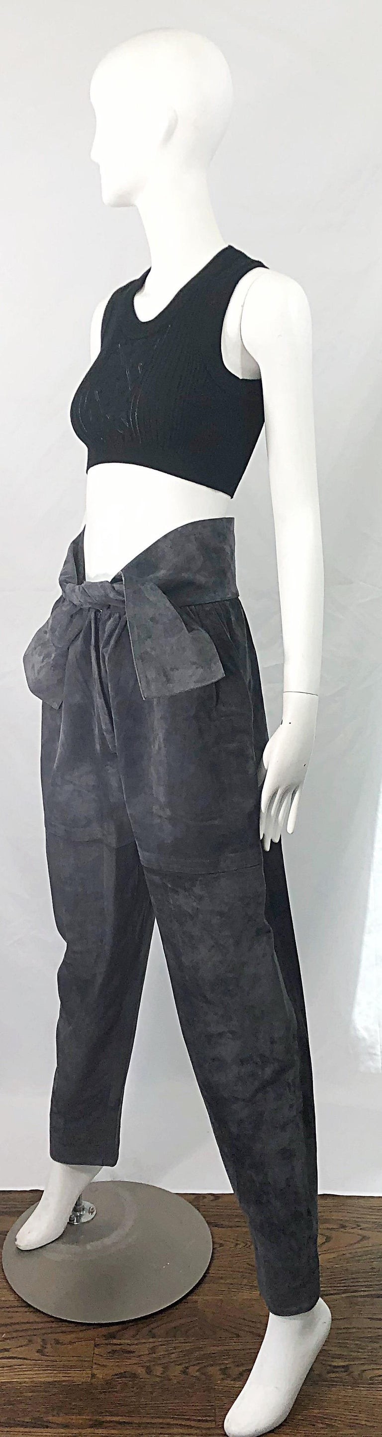 Vintage Yves Saint Laurent YSL 1980s Grey Suede Leather High Waisted Harem Pants In Excellent Condition For Sale In Chicago, IL