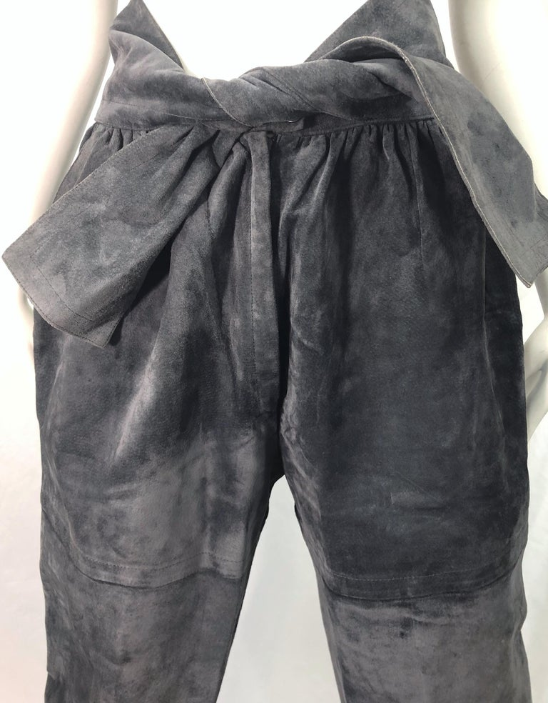 Women's Vintage Yves Saint Laurent YSL 1980s Grey Suede Leather High Waisted Harem Pants For Sale