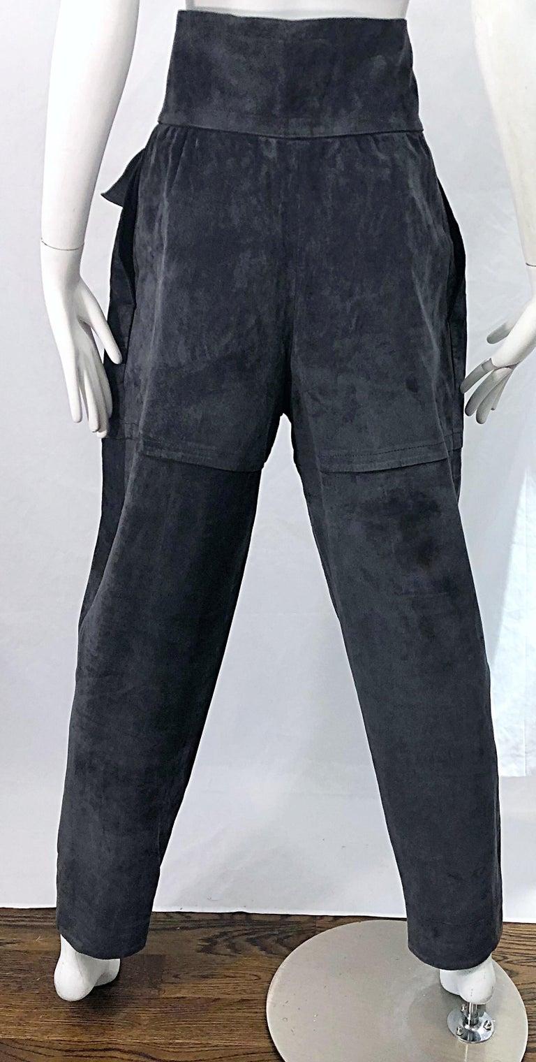 Vintage Yves Saint Laurent YSL 1980s Grey Suede Leather High Waisted Harem Pants For Sale 1