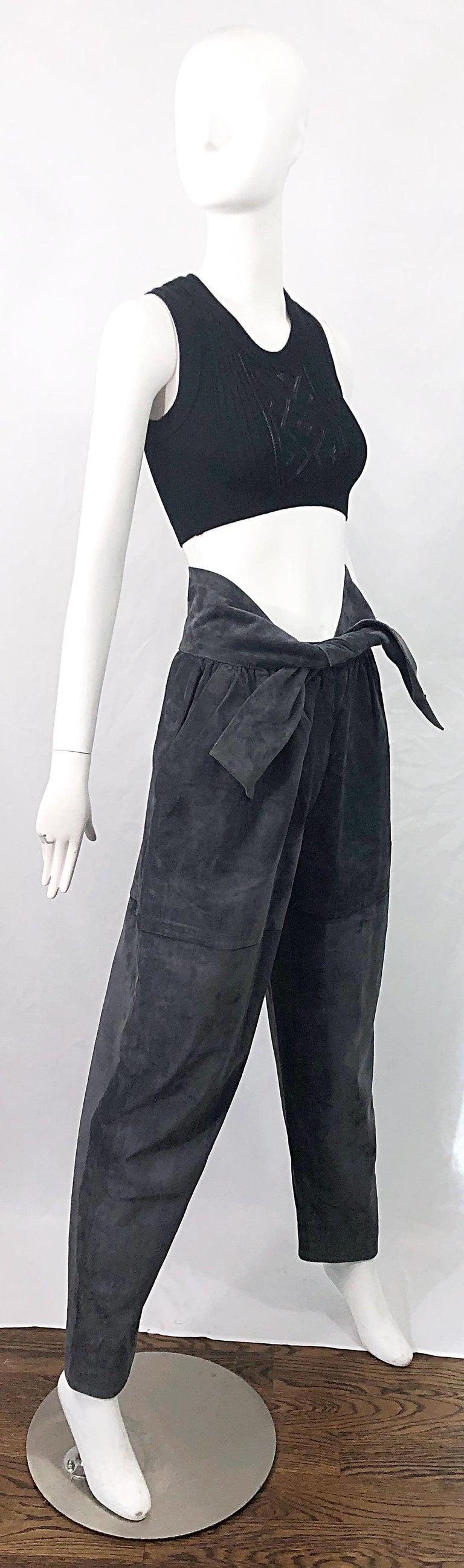 Vintage Yves Saint Laurent YSL 1980s Grey Suede Leather High Waisted Harem Pants For Sale 2