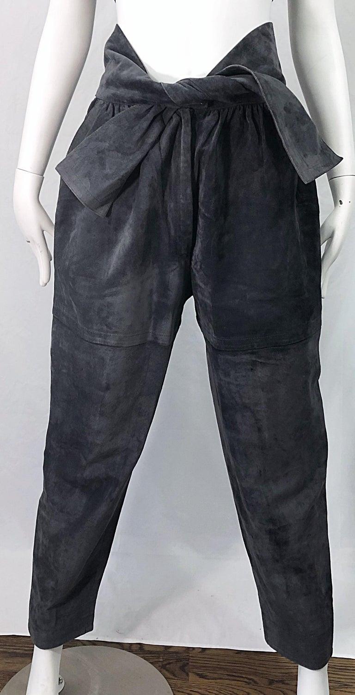 Vintage Yves Saint Laurent YSL 1980s Grey Suede Leather High Waisted Harem Pants For Sale 3
