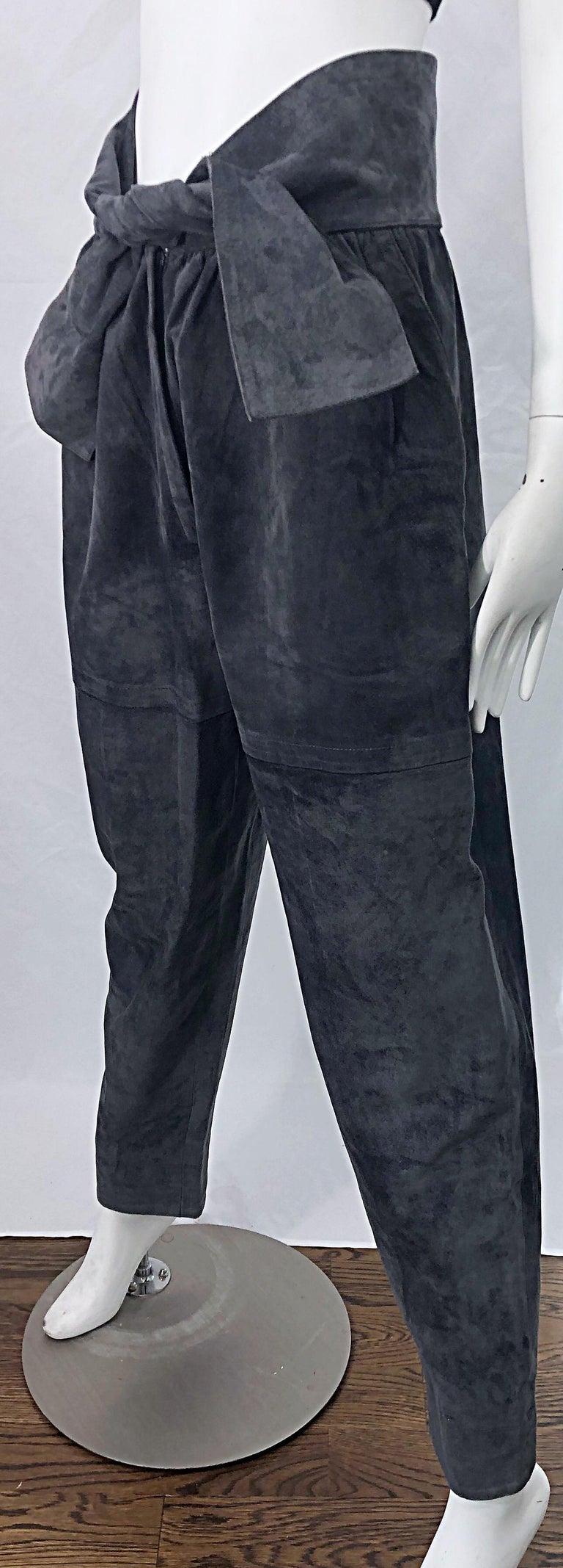 Vintage Yves Saint Laurent YSL 1980s Grey Suede Leather High Waisted Harem Pants For Sale 4