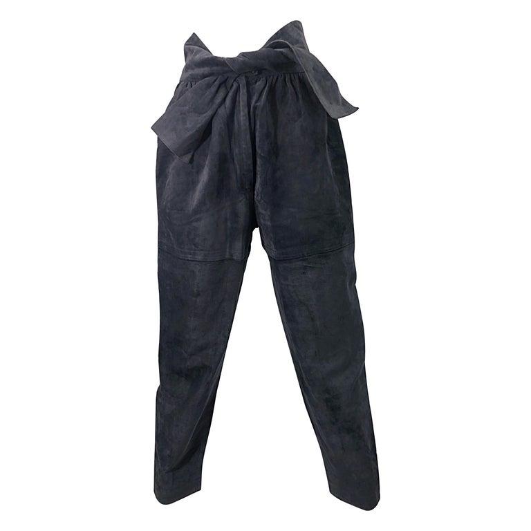 Vintage Yves Saint Laurent YSL 1980s Grey Suede Leather High Waisted Harem Pants For Sale