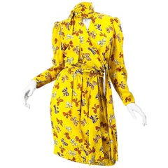 Vintage Yves Saint Laurent YSL 1980s Yellow Bow Print Silk Blouse + Skirt Dress