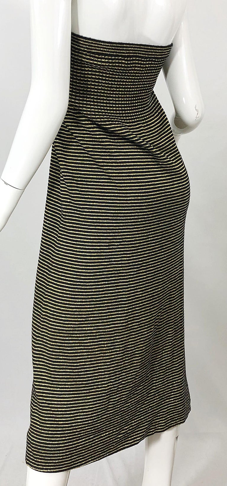 Vintage Yves Saint Laurent YSL 70s Gold Black Strapless Knit Dress or Maxi Skirt For Sale 6