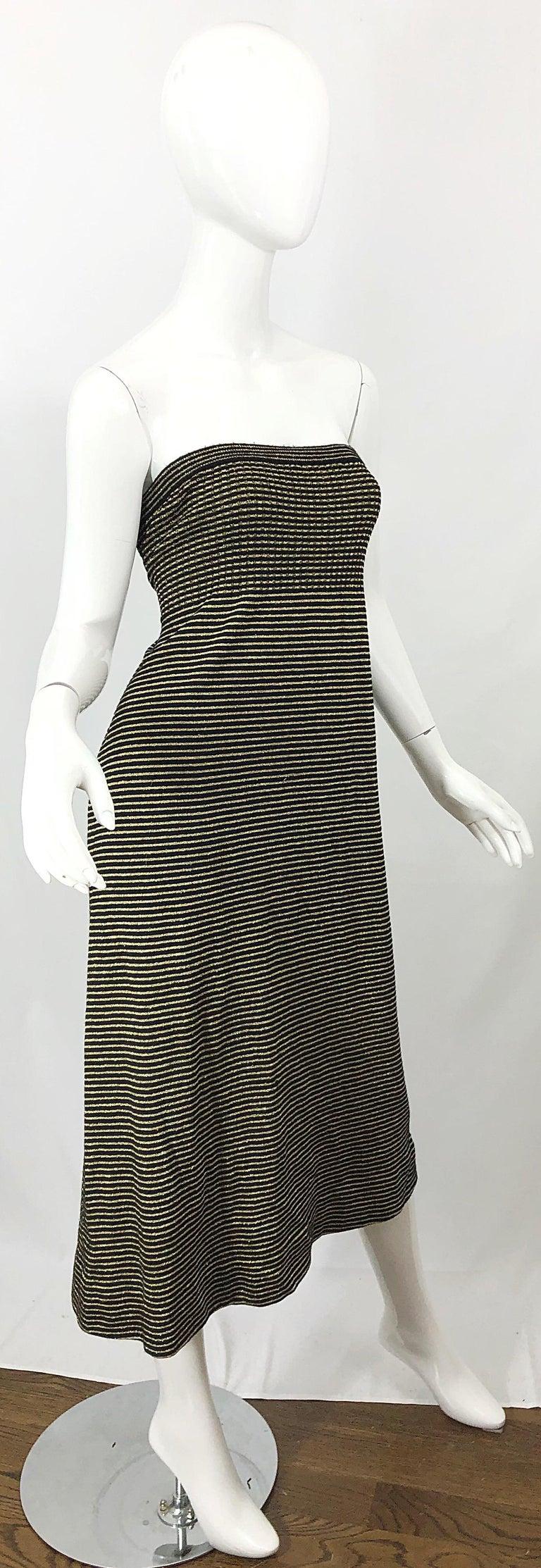 Vintage Yves Saint Laurent YSL 70s Gold Black Strapless Knit Dress or Maxi Skirt For Sale 7