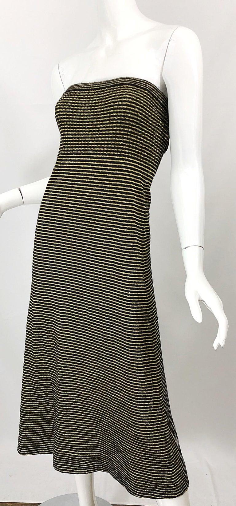 Vintage Yves Saint Laurent YSL 70s Gold Black Strapless Knit Dress or Maxi Skirt For Sale 8