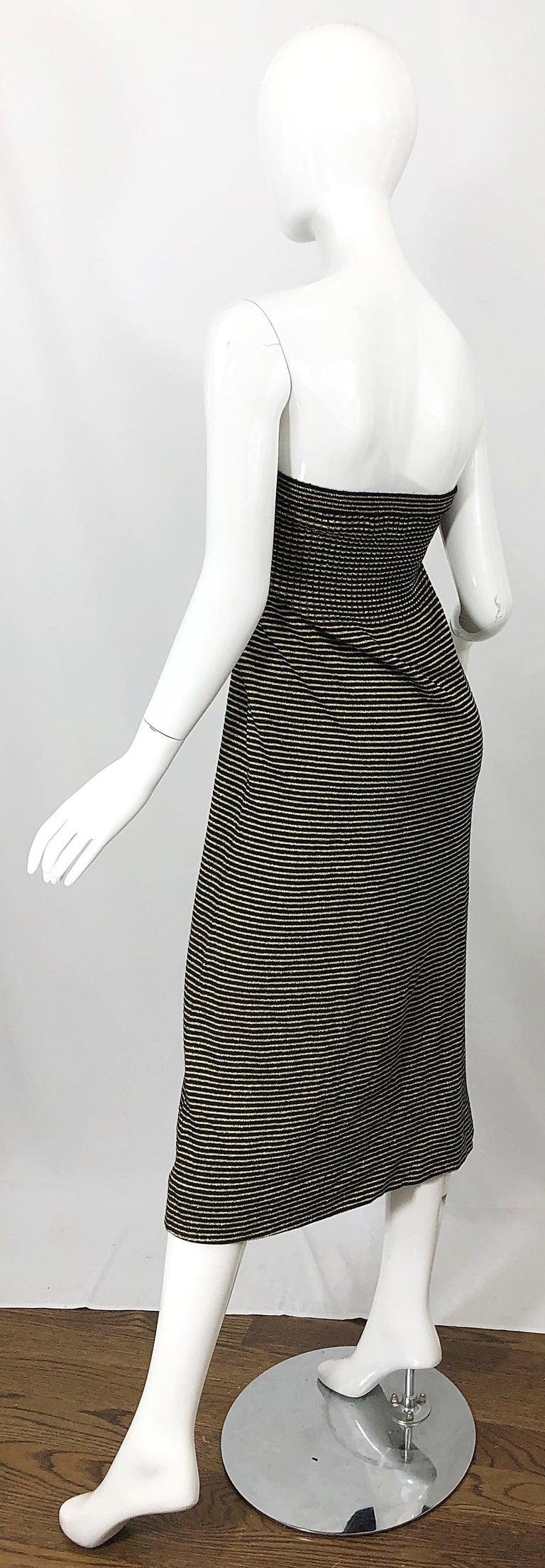 Vintage Yves Saint Laurent YSL 70s Gold Black Strapless Knit Dress or Maxi Skirt For Sale 9