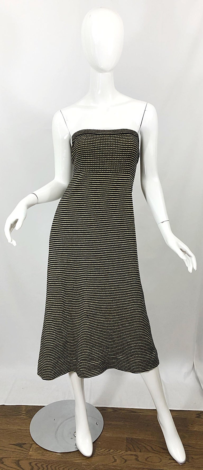 Vintage Yves Saint Laurent YSL 70s Gold Black Strapless Knit Dress or Maxi Skirt For Sale 10