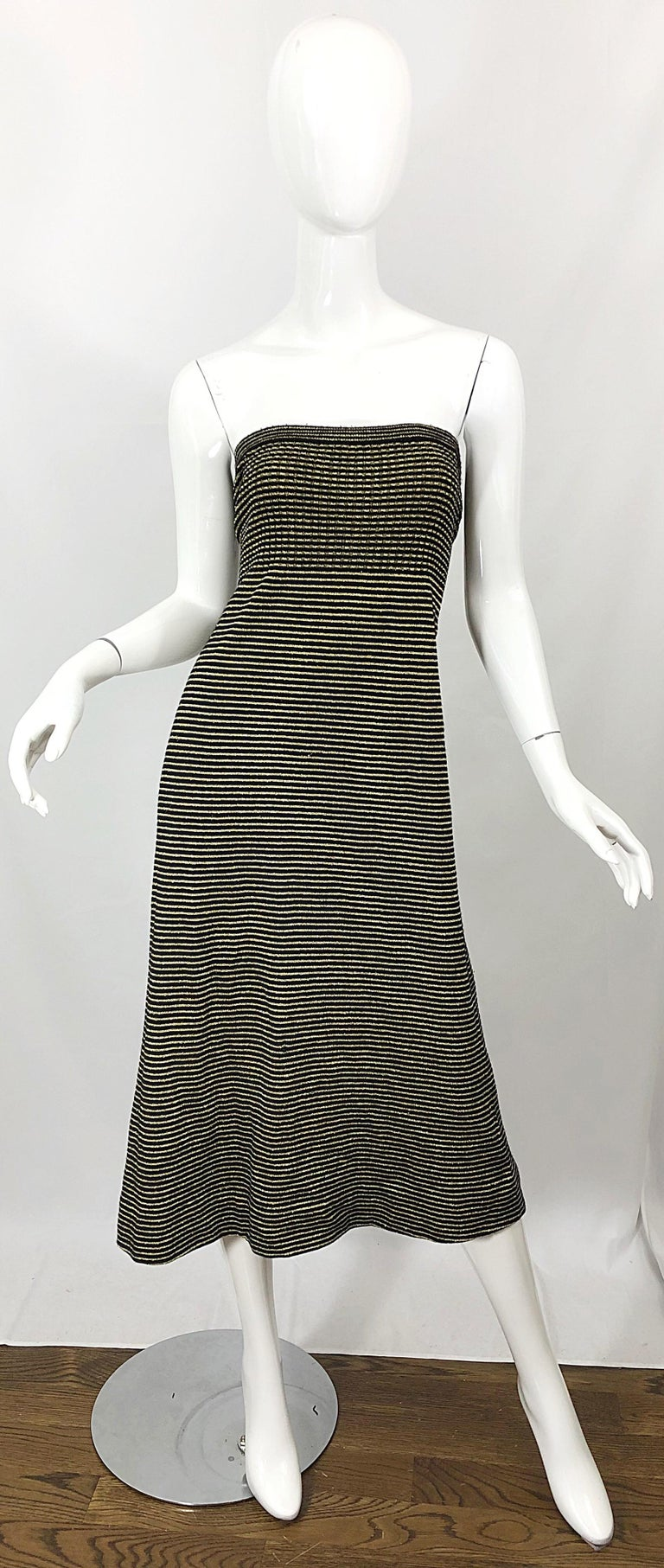 Vintage Yves Saint Laurent YSL 70s Gold Black Strapless Knit Dress or Maxi Skirt In Excellent Condition For Sale In Chicago, IL