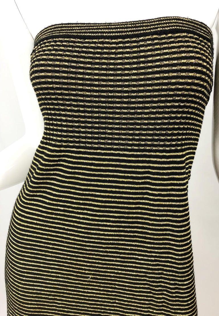 Women's Vintage Yves Saint Laurent YSL 70s Gold Black Strapless Knit Dress or Maxi Skirt For Sale