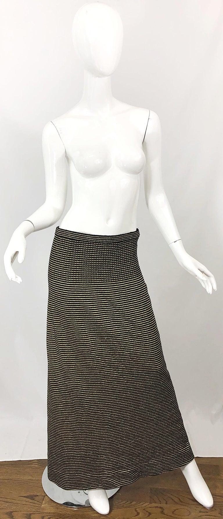 Vintage Yves Saint Laurent YSL 70s Gold Black Strapless Knit Dress or Maxi Skirt For Sale 1