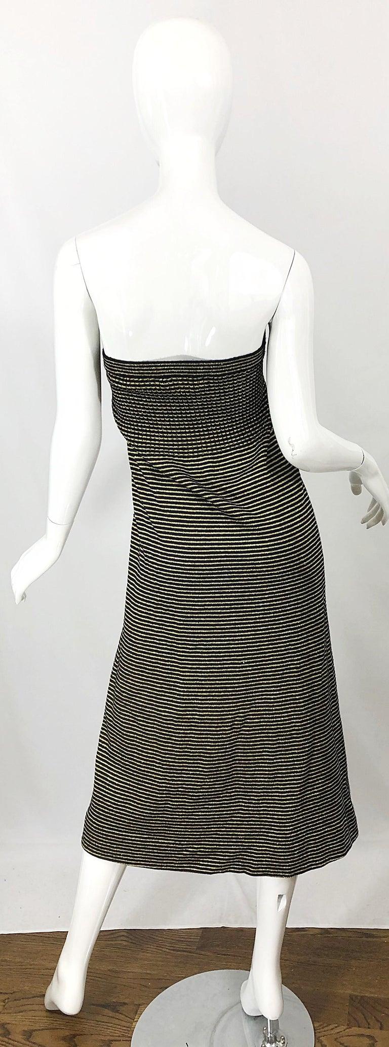 Vintage Yves Saint Laurent YSL 70s Gold Black Strapless Knit Dress or Maxi Skirt For Sale 2