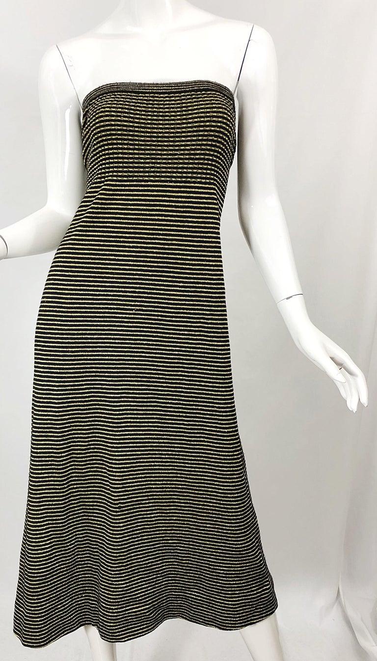 Vintage Yves Saint Laurent YSL 70s Gold Black Strapless Knit Dress or Maxi Skirt For Sale 3