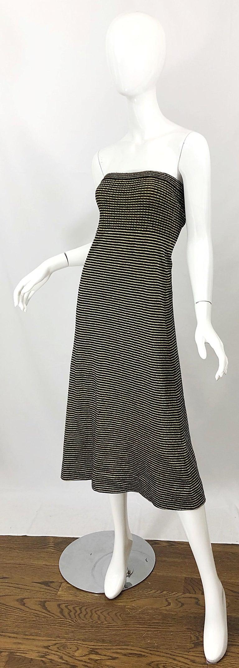 Vintage Yves Saint Laurent YSL 70s Gold Black Strapless Knit Dress or Maxi Skirt For Sale 4