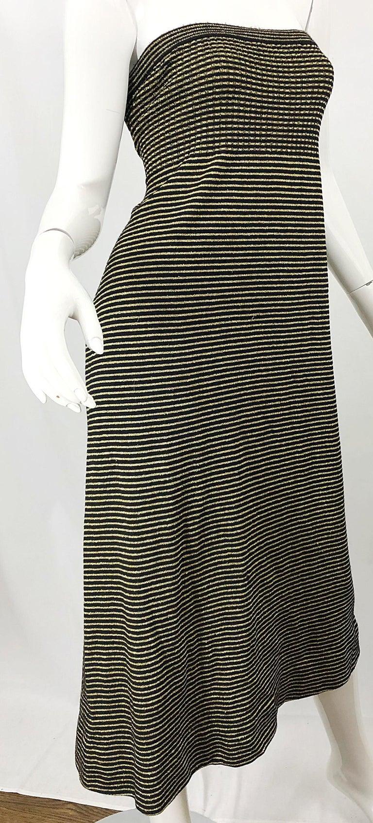 Vintage Yves Saint Laurent YSL 70s Gold Black Strapless Knit Dress or Maxi Skirt For Sale 5