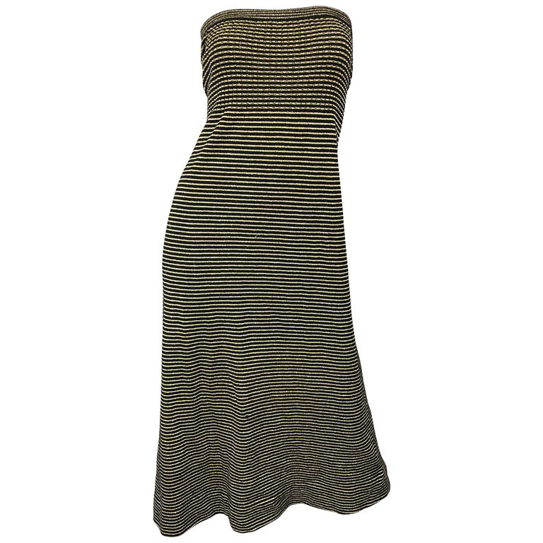 Vintage Yves Saint Laurent YSL 70s Gold Black Strapless Knit Dress or Maxi Skirt For Sale