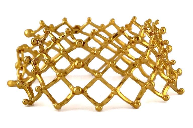Women's Vintage YVES SAINT LAURENT Ysl Accordion Grille Cuff Bracelet For Sale