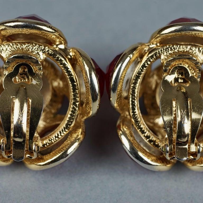 Vintage YVES SAINT LAURENT Ysl Amber Flower Earrings For Sale 6