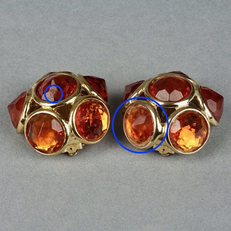 Vintage YVES SAINT LAURENT Ysl Amber Flower Earrings For Sale 7