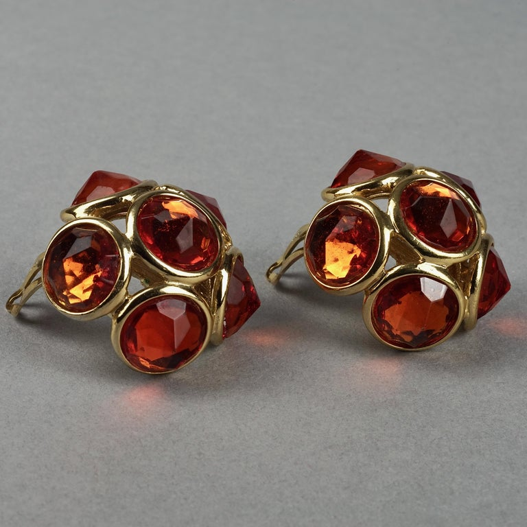 Vintage YVES SAINT LAURENT Ysl Amber Flower Earrings In Good Condition For Sale In Kingersheim, Alsace