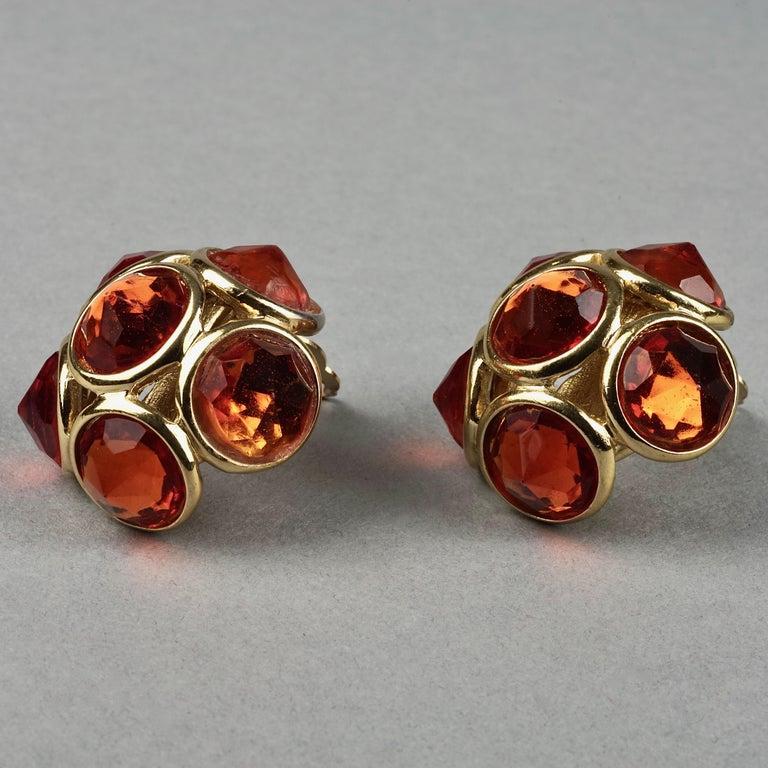 Women's Vintage YVES SAINT LAURENT Ysl Amber Flower Earrings For Sale