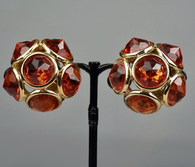 Vintage YVES SAINT LAURENT Ysl Amber Flower Earrings For Sale 1