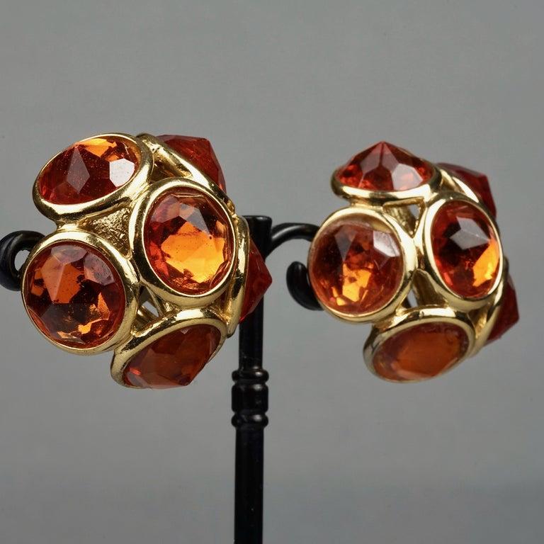 Vintage YVES SAINT LAURENT Ysl Amber Flower Earrings For Sale 2