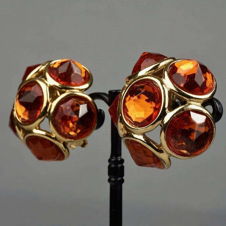Vintage YVES SAINT LAURENT Ysl Amber Flower Earrings For Sale 3