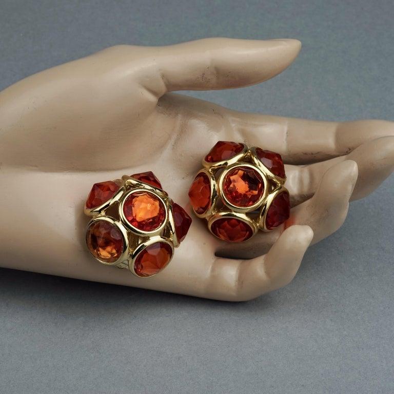 Vintage YVES SAINT LAURENT Ysl Amber Flower Earrings For Sale 4