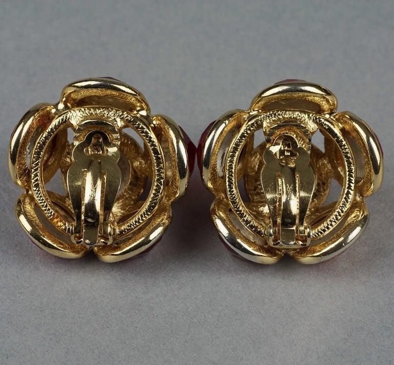 Vintage YVES SAINT LAURENT Ysl Amber Flower Earrings For Sale 5