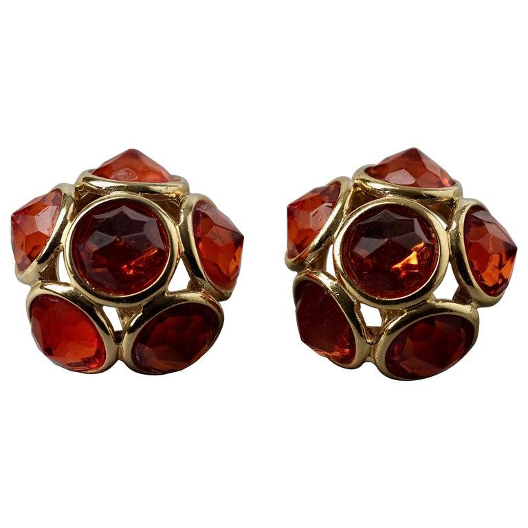 Vintage YVES SAINT LAURENT Ysl Amber Flower Earrings For Sale