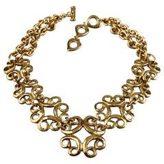 Vintage YVES SAINT LAURENT Ysl Arabesque Charm Link Necklace