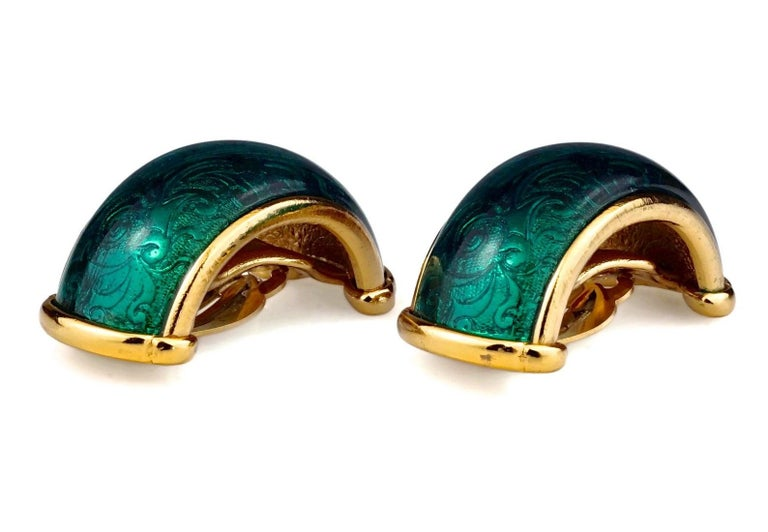 Vintage YVES SAINT LAURENT Ysl Arabesque Green Enamel Earrings  Measurements: Height: 1.73 inches (4.4 cm) Width: 0.83 inch (2.1 cm) Weight per Earring: 26 grams  Features: - 100% Authentic YVES SAINT LAURENT. - Hoop earrings in green enamel with