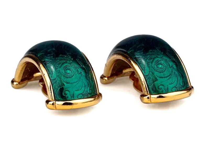 Vintage YVES SAINT LAURENT Ysl Arabesque Green Enamel Earrings In Excellent Condition For Sale In Kingersheim, Alsace
