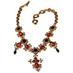 Vintage YVES SAINT LAURENT Ysl Arabesque Jewelled Enamel Necklace