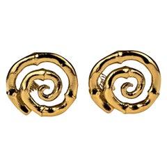 Vintage YVES SAINT LAURENT Ysl Bamboo Spiral Earrings