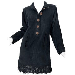 Vintage Yves Saint Laurent YSL Black Suede Leather Fringe Nehru Tunic Dress
