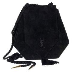 Vintage YVES SAINT LAURENT Ysl Black Tassel Suede Shoulder Bag