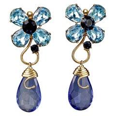 Vintage YVES SAINT LAURENT Ysl Blue Glass Flower Dangling Earrings