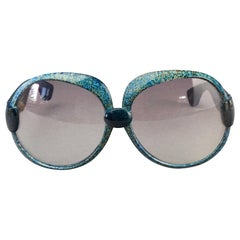 Vintage YVES SAINT LAURENT Ysl Blue Marbled Oversized Sunglasses
