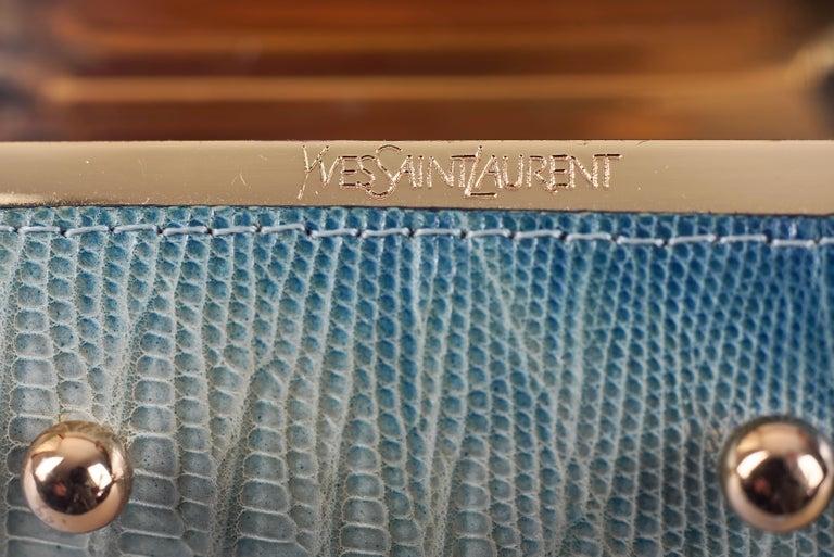 Vintage YVES SAINT LAURENT Ysl Blue Ombre Embossed Leather Cuff Bracelet For Sale 4