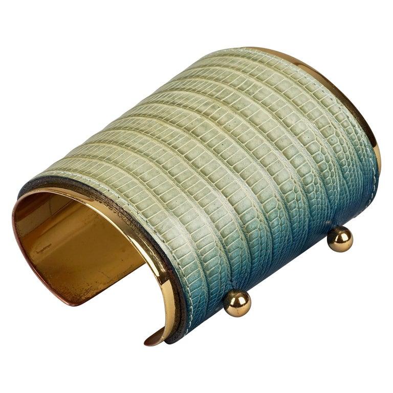 Vintage YVES SAINT LAURENT Ysl Blue Ombre Embossed Leather Cuff Bracelet For Sale