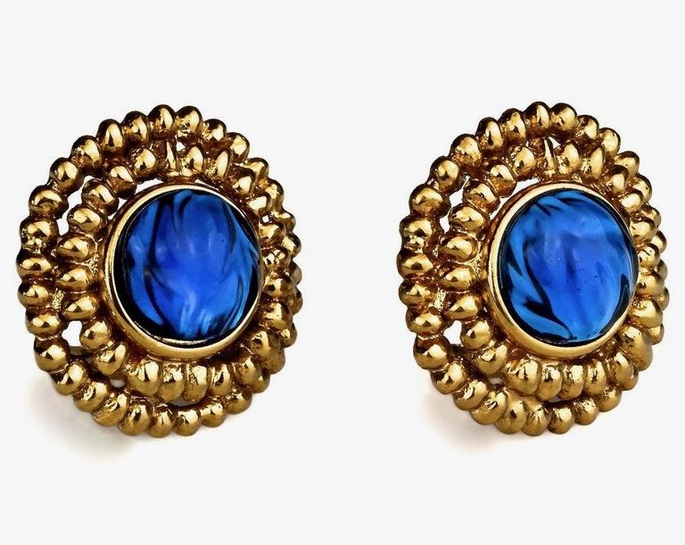 Women's Vintage YVES SAINT LAURENT Ysl Blue Resin Poured Disc Earrings For Sale