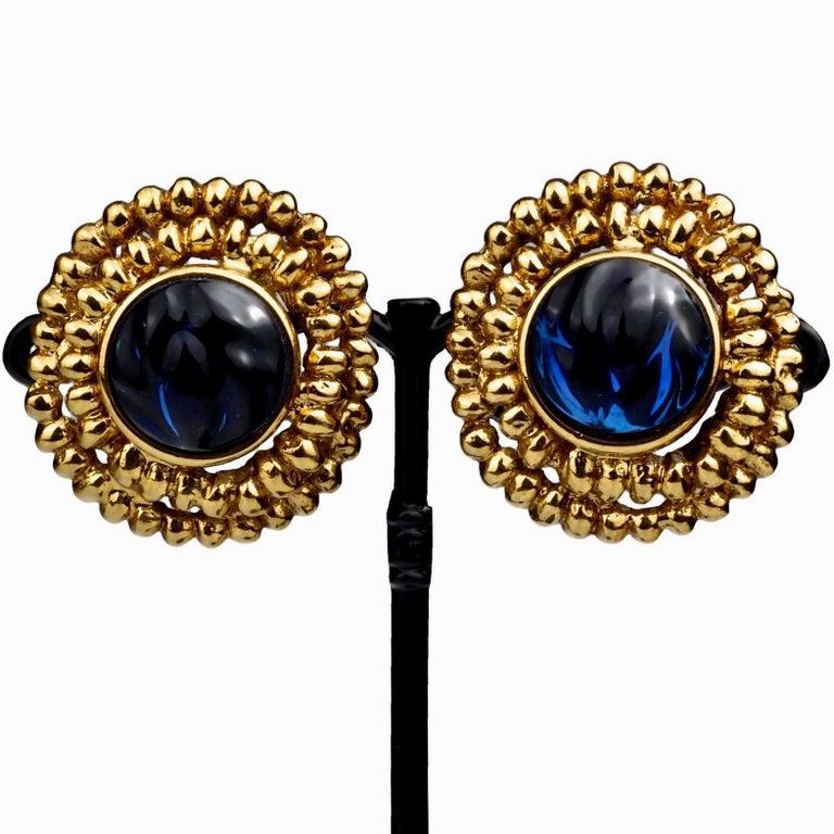 Vintage YVES SAINT LAURENT Ysl Blue Resin Poured Disc Earrings For Sale 1