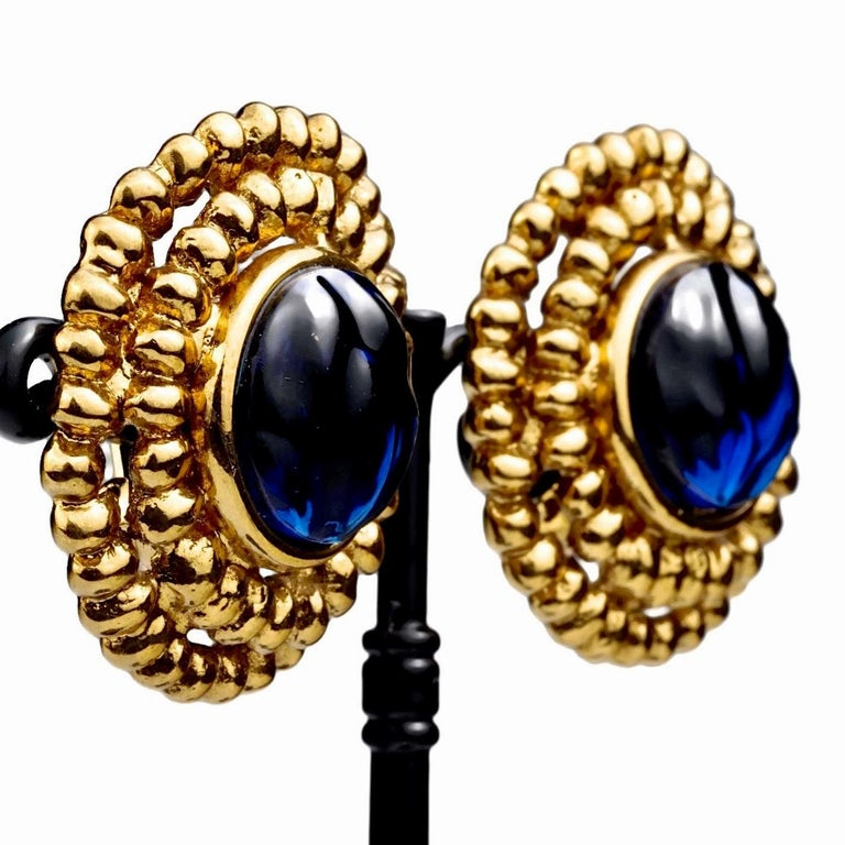 Vintage YVES SAINT LAURENT Ysl Blue Resin Poured Disc Earrings For Sale 2