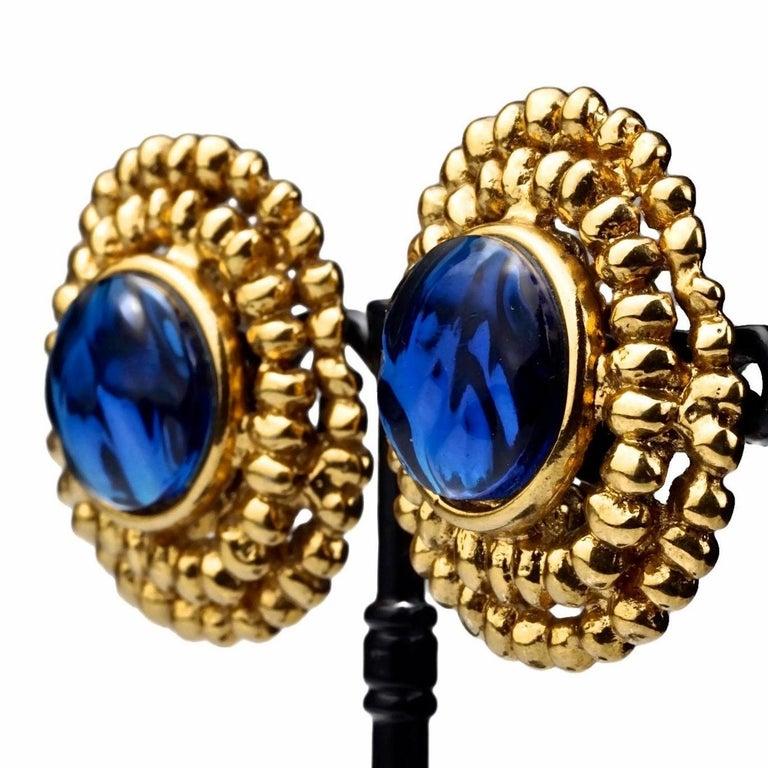 Vintage YVES SAINT LAURENT Ysl Blue Resin Poured Disc Earrings For Sale 3