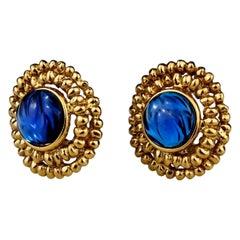 Vintage YVES SAINT LAURENT Ysl Blue Resin Poured Disc Earrings