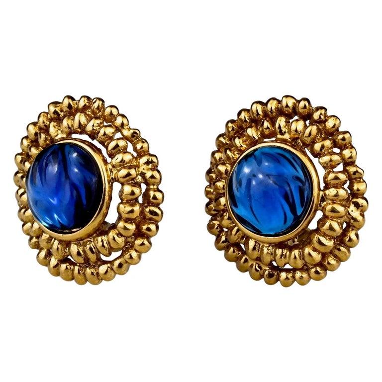 Vintage YVES SAINT LAURENT Ysl Blue Resin Poured Disc Earrings For Sale