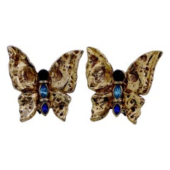 Vintage Yves Saint Laurent YSL Butterfly Jeweled Earrings